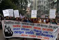 Activists from the women's wing of the Communist Party of India- Marxist, pictured during a protest against the gang rape and murder of a student in the Indian captial, in Siliguri, on January 8, 2013. The case against five Indian men charged with the gang-rape and murder is set to be moved to a fast-track court on Thursday after a lawyer said three of the accused would deny the charges
