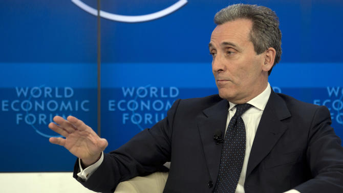 Vittorio Grilli, Italian Minister for Economy and Finance reacts in the Associated Press session 'Creating Economic Dynamism' during the the 43rd Annual Meeting of the World Economic Forum, WEF, in Davos, Switzerland, Friday, Jan. 25, 2013.  (AP Photo/Anja Niedringhaus)