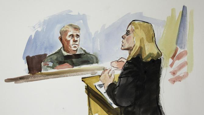 In this courtroom sketch, Emma Scanlan, right, the civilian attorney for U.S. Army Staff Sgt. Robert Bales, makes her closing statements to Investigating Officer Col. Lee Deneke, left, Tuesday, Nov. 13, 2012 on the final day of a preliminary hearing for Bales at Joint Base Lewis McChord in Washington state. Bales is accused of 16 counts of premeditated murder and six counts of attempted murder for a pre-dawn attack on two villages in Kandahar Province in Afghanistan in March, 2012. (AP Photo/Lois Silver)