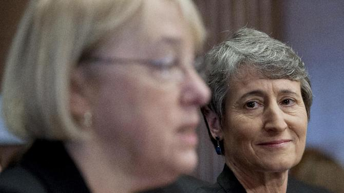 Interior Secretary nominee Sally Jewel listens at right as Sen. Patty Murray, D-Wash. introduces her on Capitol Hill in Washington, Thursday, March 7, 2013, during Jewel's nomination hearing before the Senate Energy and Natural Resources Committee. (AP Photo/Cliff Owen)