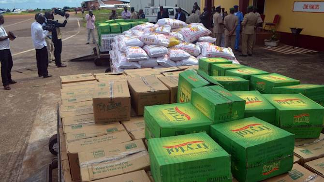 Boxes of aid for Ebola patients are piled up at Conakry airport, on September 15, 2014