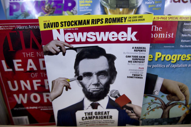A copy of Newsweek is seen at Joe&#39;s Smoke, Thursday, Oct. 18, 2012, in Portland, Maine. Newsweek announced Thursday, Oct. 18, 2012 that it will end its print publication after 80 years and shift to an all-digital format in early 2013. Its last U.S. print edition will be its Dec. 31 issue. The paper version of Newsweek is the latest casualty of a changing world where readers get more of their information from websites, tablets and smartphones. (AP Photo/Robert F. Bukaty)