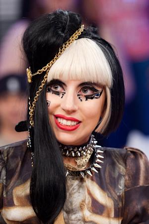 """Lady Gaga tapes an episode of """"106 and Park"""" at BET Studios in New York, Monday, May 23, 2011. (AP Photo/Charles Sykes)"""