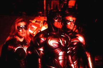 Alicia Silverstone , George Clooney and Chris O'Donnell in Warner Brothers' Batman & Robin