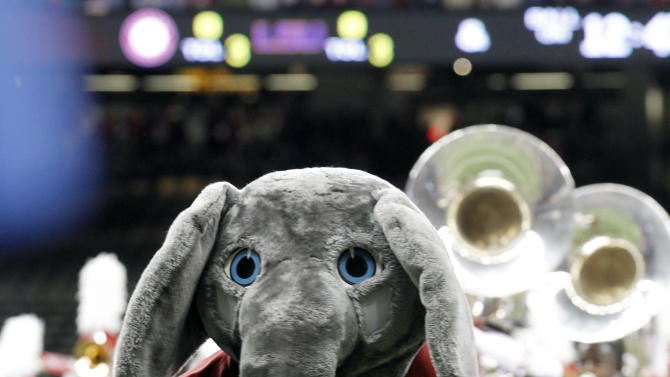 FILE - In this Jan. 9, 2012, file photo, Alabama mascot Big Al performs before the BCS national championship NCAA college football game against LSU in New Orleans. (AP Photo/Gerald Herbert, File)
