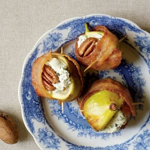 Bacon-Wrapped Figs with toasted pecans make for an easy yet impressive appetizer.
