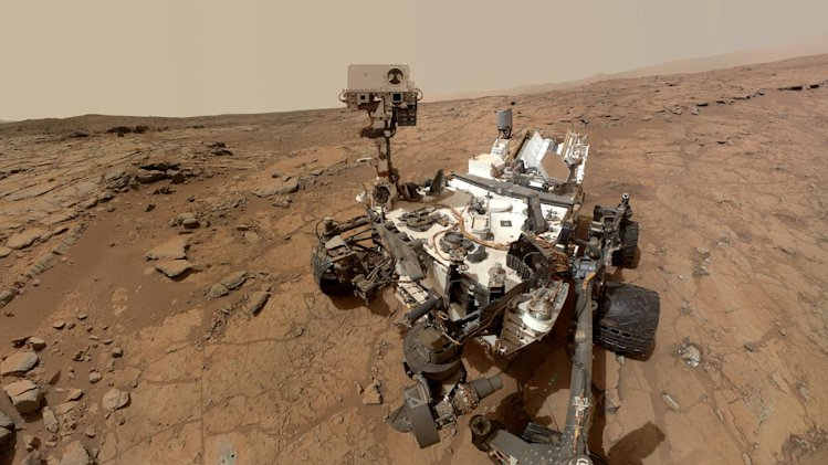 This photo released by NASA shows a self-portrait taken by the NASA rover Curiosity in Gale Crater on Mars. Measurements of the Martian air by the rover found it's mostly made of carbon dioxide with traces of other gases, according to two studies appearing in the Friday, July 19, 2013 issue of the journal Science. (AP Photo/NASA)