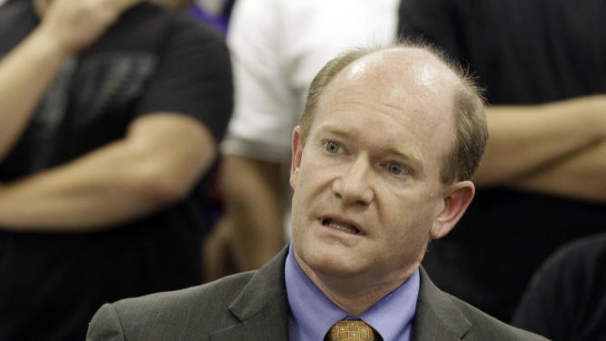 Delaware Democratic Senate nominee Chris Coons delivers remarks during a news conference concerning jobs, Wednesday, Oct. 27, 2010, in Wilmington, Del.. (AP Photo/Rob Carr)