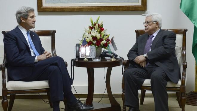 Palestinian President Mahmoud Abbas meets with U.S. Secretary of State John Kerry on April 7 in Ramallah, West Bank.