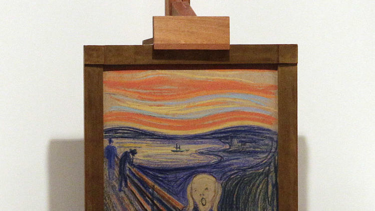 "Edvard Munch's ""The Scream"" is auctioned at Sotheby's, Wednesday, May 2, 2012, in New York. The image is one of four versions created by the Norwegian expressionist painter. Three are in Norwegian museums. The one at the Sotheby's auction is the only one left in private hands. It is being sold by Norwegian businessman Petter Olsen, whose father was a friend and patron of the artist. The hammer price was $107 Million with the buyers premium is $119,922, 500. (AP Photo/Frank Franklin II)"