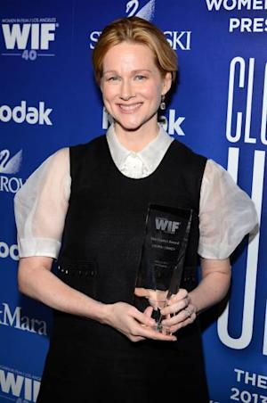 Laura Linney poses with the Crystal Award for Excellence in Film backstage at Women In Film's 2013 Crystal + Lucy Awards at The Beverly Hilton Hotel on June 12, 2013 in Beverly Hills -- Getty Images