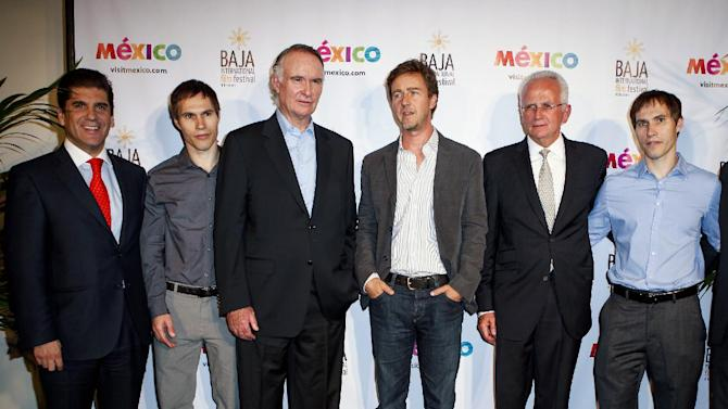 IMAGE DISTRIBUTED FOR MEXICO TOURISM - From left, Ruben Reachi, Scott Cross, Eduardo Sanchez Navarro, Edward Norton, Rodolfo Lopez-Negrete, and Sean Cross during the launch of the Baja International Film Festival at the Beverly Hilton on Wednesday, October 10, 2012, in Beverly Hills, Calif. (Bret Hartman/AP Images for Mexico Tourism)