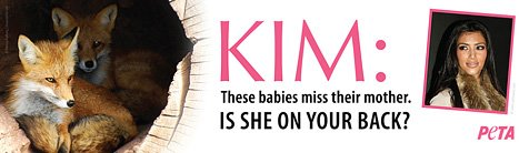 PIC: Kim Kardashian Bashed by PETA for Wearing Fur on Scathing New Billboard