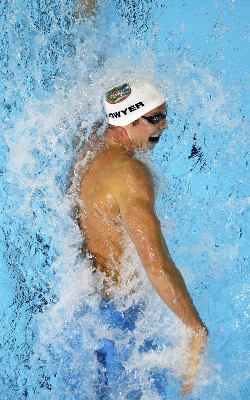 Conor Dwyer swims in the men's 200-meter freestyle preliminaries at the U.S. Olympic swimming trials, Tuesday, June 26, 2012, in Omaha, Neb. (AP Photo/Mark Humphrey)