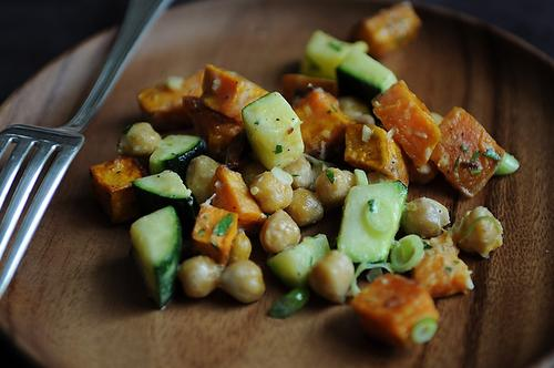 Yam, Zucchini and Chickpea Salad