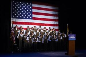 Members of the Newark Boys Chorus School practice before U.S. Senate candidate Cory Booker campaign's election night event in Newark, New Jersey