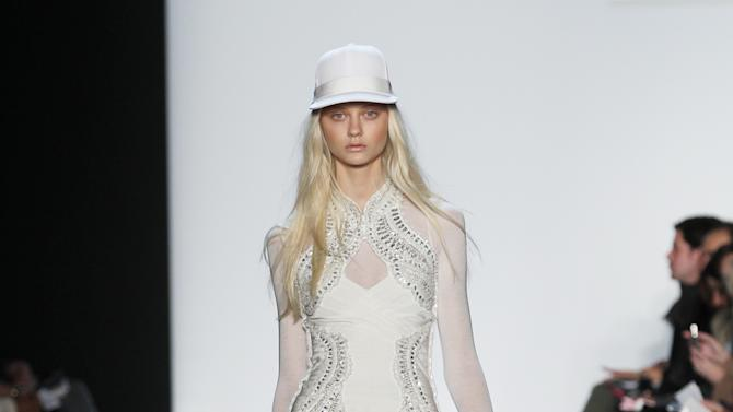 In this photo provided by Herve Leger, a model walks the runway during the Herve Leger Fall 2013 fashion show during Fashion Week, Saturday, Feb. 9, 2013, in New York. (AP Photo/Herve Leger)