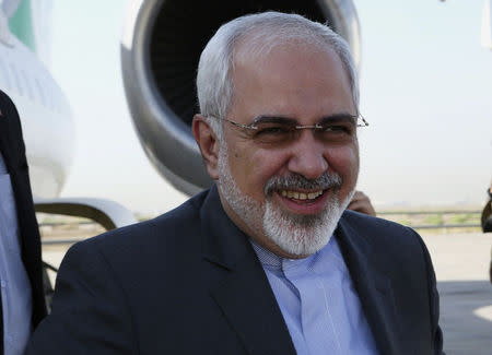 Iranian Foreign Minister Mohammad Javad Zarif arrives at the airport in Baghdad