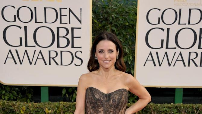 Julia Louis-Dreyfus arrives at the 70th Annual Golden Globe Awards at the Beverly Hilton Hotel on Sunday Jan. 13, 2013, in Beverly Hills, Calif. (Photo by John Shearer/Invision/AP)