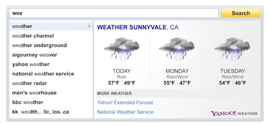 Yahoo! Search Direct weather results screenshot