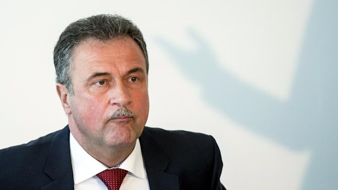 Leader of the German GDL train drivers' union Claus Weselsky addresses a news conference in Berlin, Germany