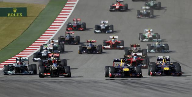 Sebastian Vettel of Germany leads the pack during the Austin F1 Grand Prix at the Circuit of the Americas in Austin