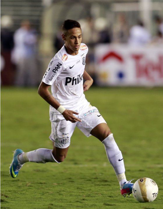 File photo of Neymar of Santos handling the ball during their Sao Paulo state soccer league final match against Corinthians in Santos