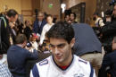 New England Patriots quarterback Jimmy Garoppolo answers questions during a news conference Thursday, Jan. 29, 2015, in Chandler, Ariz. The Patriots play the Seattle Seahawks in NFL football Super Bowl XLIX Sunday, Feb. 1. (AP Photo/Mark Humphrey)