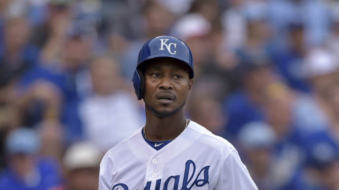 Kansas City Royals center fielder Jarrod Dyson (1) walks away after striking out against the Detroit Tigers during the seventh inning of a baseball game Saturday, Sept. 20, 2014, in Kansas City, Mo. (AP Photo/Reed Hoffmann)