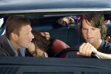 Sean Bean , Sophia Bush and Zachary Knighton in Rogue Pictures' The Hitcher
