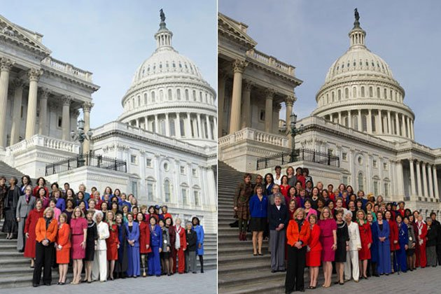 House Minority Leader Nancy Pelosi organized a photo op on Thursday with female Democratic lawmakers on the Capitol steps