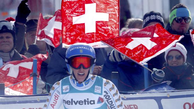 Kling of Sweden reacts after finishing her run in women's Alpine Skiing World Cup Super-G in St. Moritz