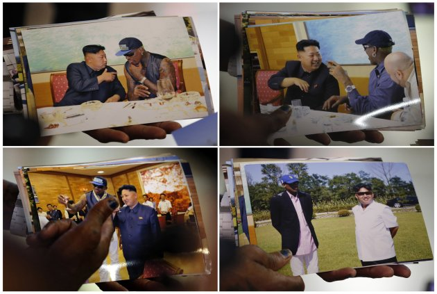 Former basketball star Dennis Rodman of the U.S. shows pictures he took with North Korean leader Kim Jong-un to the media, upon arrival at Beijing Capital International Airport, in this combination picture of frames shot September 7, 2013. Rodman returned on Saturday from his second visit to North Korea this year where he again met the reclusive country's leader Kim Jong-un, but did not come back with jailed American missionary Kenneth Bae. REUTERS/Kim Kyung-Hoon (CHINA)