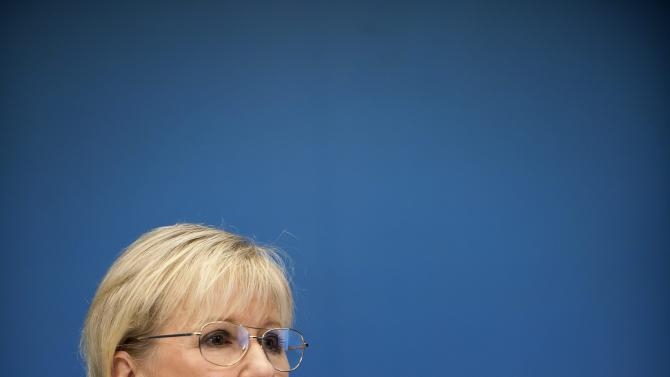 "Sweden's Foreign Minister Margot Wallstrom talks during a news conference Thursday Oct. 30, 2014, at the government building Rosenbad, in Stockholm, after Sweden's new government officially recognized a Palestinian state. Wallstrom said the Scandinavian country had decided on the move because the criteria of international law required for such recognition had been fulfilled, ""There is a territory, a people and government,"" she told reporters in Stockholm. (AP Photo/Annika af Klercker) SWEDEN OUT"
