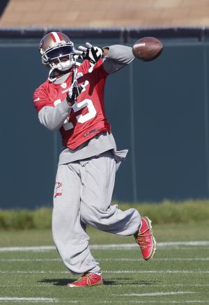 San Francisco 49ers wide receiver Michael Crabtree (15) practices at an NFL football training facility in Santa Clara, Calif., Friday, Jan. 25, 2013. The 49ers are scheduled to play the Baltimore Ravens in the Super Bowl on Sunday, Feb. 3. (AP Photo/Jeff Chiu)