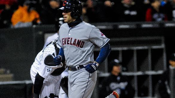 Cleveland Indians catcher Brett Hayes  crosses home plate after hitting a home run in the fifth inning of an baseball game against the Chicago White Sox on Monday, April 20, 2015, in Chicago. (AP Photo/Matt Marton)
