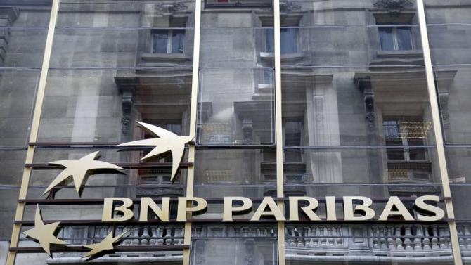 The logo of BNP Paribas is seen on a building in Paris