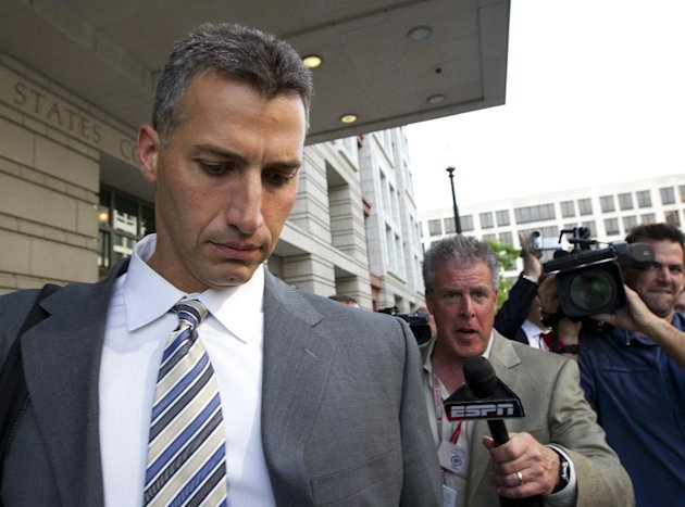 Andy Pettitte leaves the Federal Court in Washington, Tuesday, May 1, 2012. Pettitte took the stand Tuesday in the retrial of Roger Clemens on charges that Clemens lied when he told Congress in 2008 that he had never used steroids or human growth hormone. (AP Photo/Manuel Balce Ceneta)