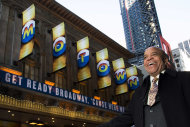 "This March 5, 2013 photo shows Berry Gordy posing for a portrait in front of the Lunt-Fontanne Theatre in New York. For Berry Gordy, conquering Broadway is the next - and by his own admission, last - major milestone of a magical, musical career. The 83-year-old Motown Records founder is taking his story and that of his legendary label to the Great White Way. ""Motown: The Musical,"" opens for previews Monday. (Photo by Charles Sykes/Invision/AP)"