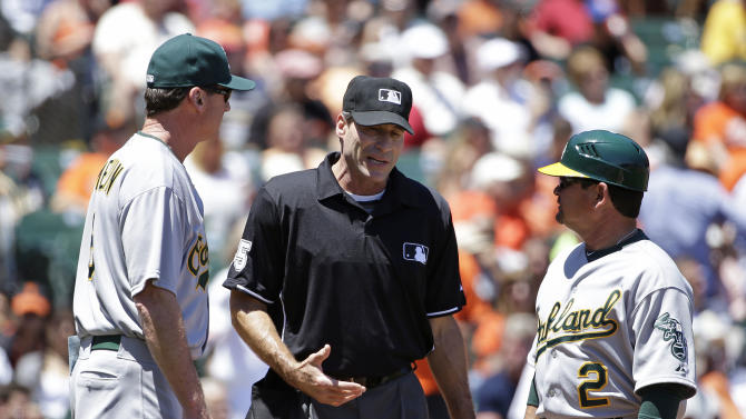 Plate umpire leaves A's-Giants game in 4th inning