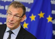 EU Development commissioner Andris Piebalgs speaks during a press conference on the new initiative to fight against any kind of discrimination in developing countries at the EU headquarters in Brussels. The Africa, Caribbean and Pacific group of states boycotted an European Union event because it was due to discuss how to fight discrimination against gay rights