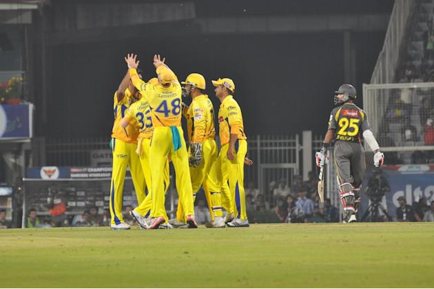 CSK players celebrate fall of wicket during the match against Sunrisers Hyderabad at Champions League Twenty-20 Match at Jharkhand State Cricket Association (JSCA) International Cricket Stadium in Ran