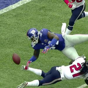 New York Giants tight end Larry Donnell fumble recovered by Houston Texans cornerback Johnathan Joseph