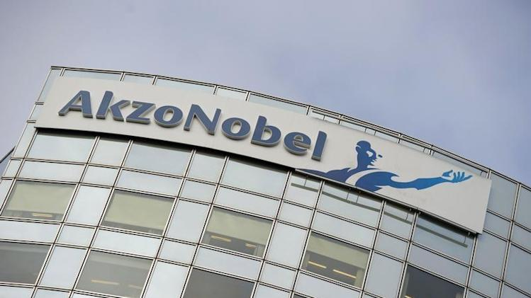 AkzoNobel's logo is seen in Amsterdam