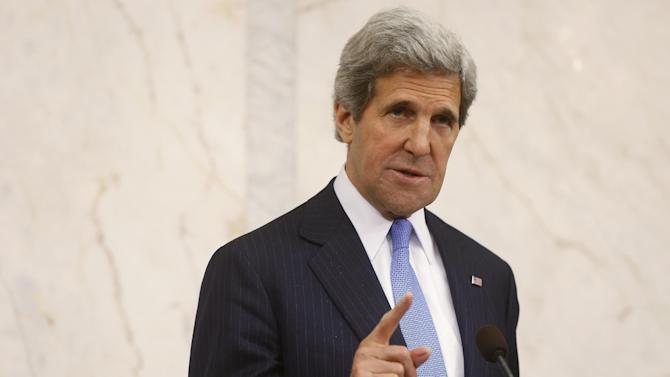 U.S. Secretary of State John Kerry speaks, during a news conference with Swedish Prime Minister Fredrik Reinfeldt, not pictured, in Stockholm, Sweden, Tuesday, May 14, 2013. U.S. Secretary of State John Kerry is dismissing suggestions that the Syrian government might not join a U.S.-Russia initiative to negotiate a peaceful transition in Syria. Syria's information minister says Damascus needs more details about the proposed initiative before it decides whether to attend. But Kerry says he expects Syrian officials to join the international effort and that the U.S. is aware that Syrian negotiators have been selected for the proposed conference. Kerry made his comments during a trip to Sweden Tuesday. Washington and Moscow — which are on opposite sides of the Syrian conflict — called last week for an international conference to start talks that would be accompanied by a cease-fire in the two-year-old war.  (AP Photo/Charles Dharapak)