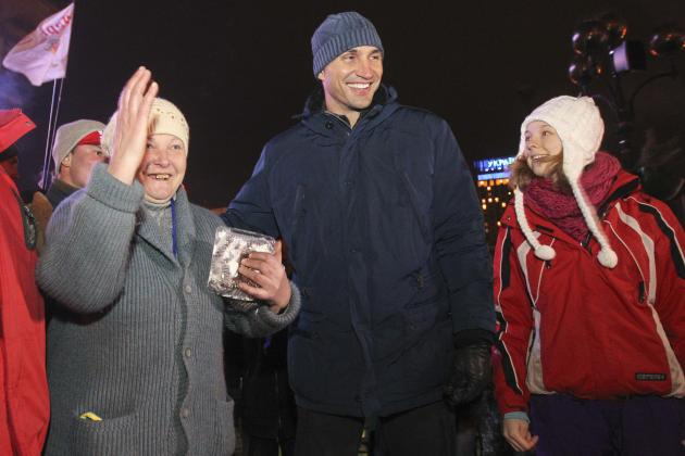 Heavyweight boxing champion and UDAR party leader Klitschko meets supporters of Ukrainian EU integration during occupation style protest in Kiev