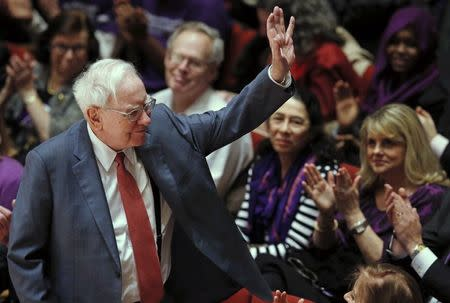 Financial investor Warren Buffett is acknowledged during an announcement ceremony at Northwestern University in Evanston