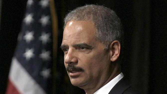 FILE - In this April 24, 2012 file photo, Attorney General Eric Holder speaks in Little Rock, Ark. A House Committee is preparing a contempt citation against Holder in a dispute over access to documents from a flawed gun tracking operation. (AP Photo/Danny Johnston, File)