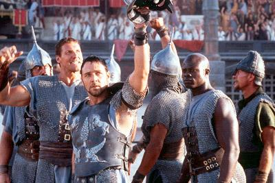 Gladiators Hagen ( Ralf Moeller ), Maximus ( Russell Crowe ) and Juba ( Djimon Hounsou ) in Dreamworks' Gladiator