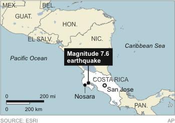 Map locates a magnitude 7.6 earthquake in Costa Rica
